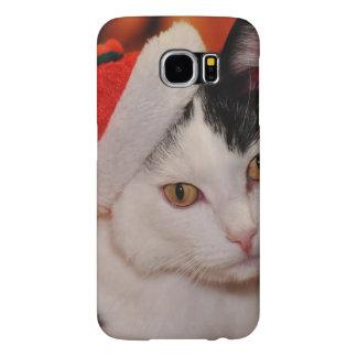 Capa Para Samsung Galaxy S6 Gato de Papai Noel - Feliz Natal - gato do animal