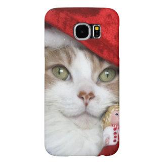Capa Para Samsung Galaxy S6 Gato do papai noel - gato do Natal - gatinhos