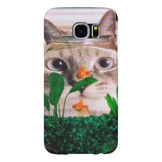 Capa Para Samsung Galaxy S6 Gato e peixes - gato - gatos engraçados - gato