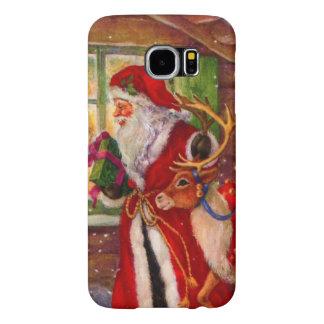 Capa Para Samsung Galaxy S6 Ilustração de Papai Noel - ilustrações do Natal