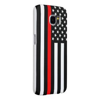 Capa Para Samsung Galaxy S6 Linha gráfico vermelha fina em uma bandeira dos