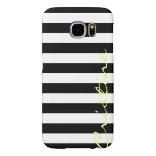 Capa Para Samsung Galaxy S6 listras horizontais preto e branco com nome