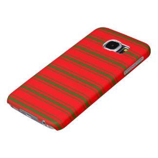 Capa Para Samsung Galaxy S6 Listras vermelhas e verdes do Natal do fundamento