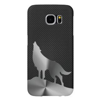 Capa Para Samsung Galaxy S6 Lobo metálico do urro com fibra do carbono