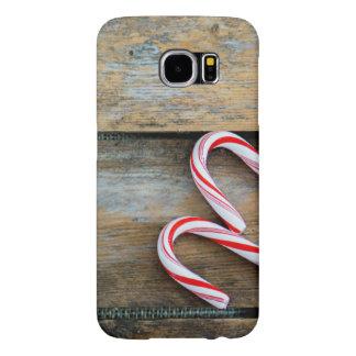 Capa Para Samsung Galaxy S6 Madeira rústica com os bastões de doces do Natal