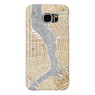 Capa Para Samsung Galaxy S6 Mapa dourado da cidade de New York