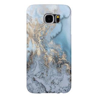 Capa Para Samsung Galaxy S6 (mármore do azul & do ouro) galáxia S6
