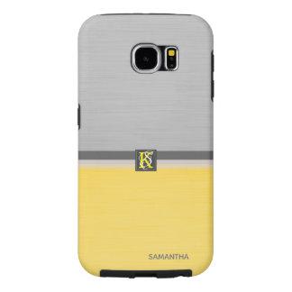 Capa Para Samsung Galaxy S6 Monograma amarelo e cinzento do tom dois simples