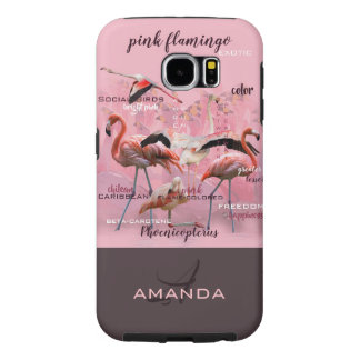 Capa Para Samsung Galaxy S6 Monograma cor-de-rosa | da tipografia do flamingo