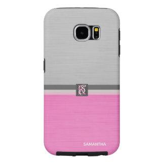Capa Para Samsung Galaxy S6 Monograma cor-de-rosa e cinzento do tom dois