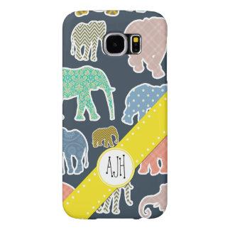 Capa Para Samsung Galaxy S6 Monograma - elefantes, bolinhas, ziguezague,