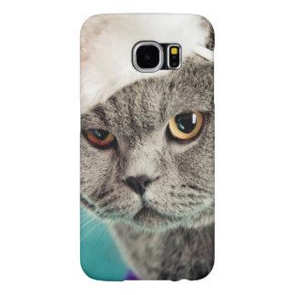 Capa Para Samsung Galaxy S6 Natal cinzento do gato - gato do Natal - gato do