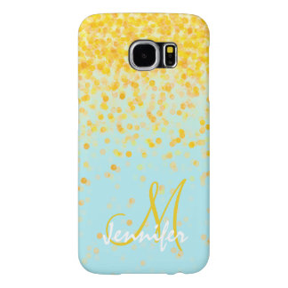 Capa Para Samsung Galaxy S6 Nome amarelo dourado feminino do ombre de turquesa