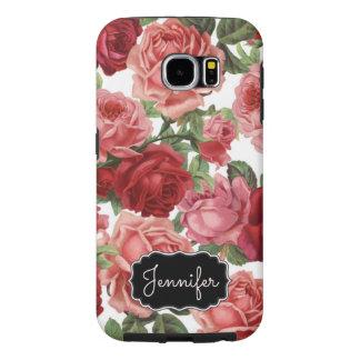Capa Para Samsung Galaxy S6 Nome floral dos rosas rosas vermelha elegantes
