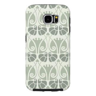 Capa Para Samsung Galaxy S6 Nouveau da arte, cerceta, bege, floral, époque do