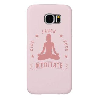 Capa Para Samsung Galaxy S6 O amor vivo do riso Meditate texto fêmea (o rosa)