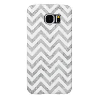 Capa Para Samsung Galaxy S6 O ziguezague elegante da folha de prata listra o