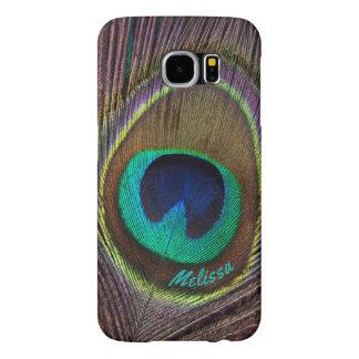 Capa Para Samsung Galaxy S6 Olho bonito da pena do pavão, seu nome