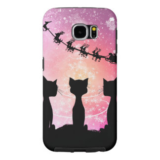 Capa Para Samsung Galaxy S6 Os gatos olham ao céu a Papai Noel
