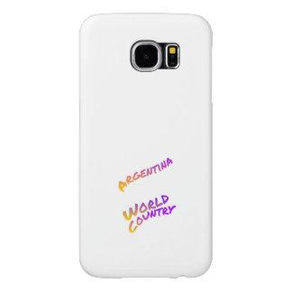 Capa Para Samsung Galaxy S6 País do mundo de Argentina, arte colorida do texto