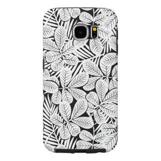 Capa Para Samsung Galaxy S6 Plantas tropicais preto e branco