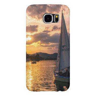 Capa Para Samsung Galaxy S6 Por do sol com barco de navigação