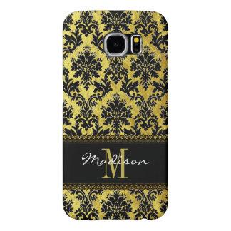 Capa Para Samsung Galaxy S6 Preto & damasco floral do ouro, laço, nome &