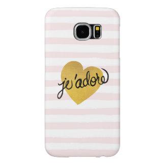 Capa Para Samsung Galaxy S6 Preto das citações | de J'adore & coração do ouro