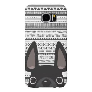 Capa Para Samsung Galaxy S6 Preto do caso de Geo do amor do buldogue francês
