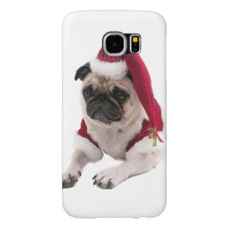 Capa Para Samsung Galaxy S6 Pug do Natal - cão de Papai Noel - persiga claus
