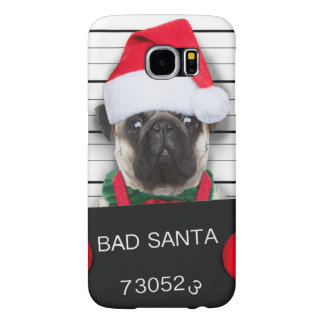 Capa Para Samsung Galaxy S6 Pug do Natal - cão do mugshot - pug do papai noel