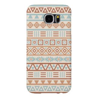Capa Para Samsung Galaxy S6 Terracottas astecas do azul do creme do teste