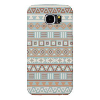 Capa Para Samsung Galaxy S6 Terracottas de creme azuis do teste padrão asteca
