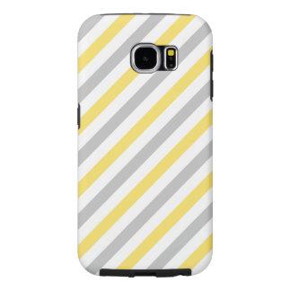 Capa Para Samsung Galaxy S6 Teste padrão diagonal cinzento e amarelo das