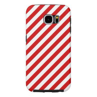 Capa Para Samsung Galaxy S6 Teste padrão diagonal vermelho e branco das