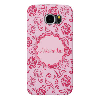 Capa Para Samsung Galaxy S6 Teste padrão floral da estrutura de rosas de chá