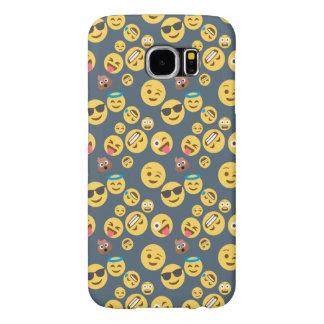 Capa Para Samsung Galaxy S6 Teste padrão parvo do cinza de Emoji