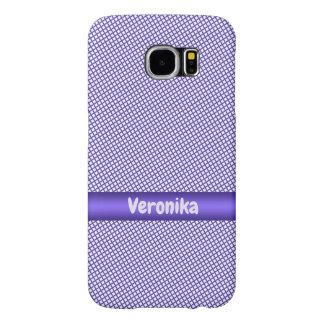 Capa Para Samsung Galaxy S6 Teste padrão pequeno violeta da xadrez