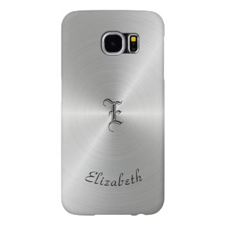 Capa Para Samsung Galaxy S6 Textura lustrada circular do metal, personalizada
