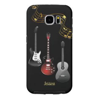 Capa Para Samsung Galaxy S6 Três guitarra e notas da música, nome