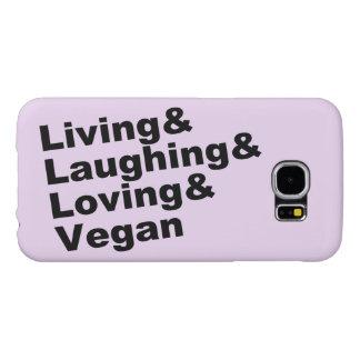 Capa Para Samsung Galaxy S6 Vida e riso e amor e Vegan (preto)