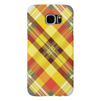 Capa Para Samsung Galaxy S6 Xadrez/Tartan - 'Sunflower