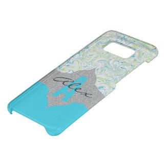 Capa Para Samsung Galaxy S8 Da Uncommon Azul & verde marmoreados com fundo transparente