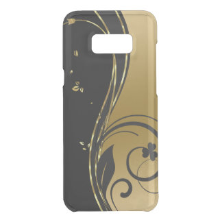 Capa Para Samsung Galaxy S8+ Da Uncommon Design floral dos redemoinhos do ouro preto &