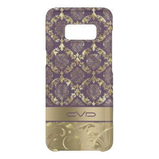 Capa Para Samsung Galaxy S8 Da Uncommon Ouro metálico elegante & teste padrão floral roxo