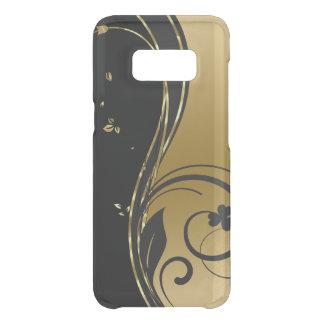 Capa Para Samsung Galaxy S8 Da Uncommon Preto & design floral dos redemoinhos do ouro
