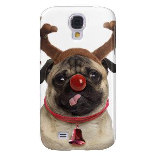 Capa Samsung Galaxy S4 Antlers do Pug - pug do Natal - Feliz Natal