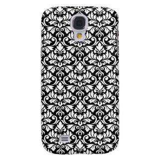 Capa Samsung Galaxy S4 Branco da cor damasco do Flourish no preto