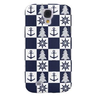 Capa Samsung Galaxy S4 Checkered branco azul náutico