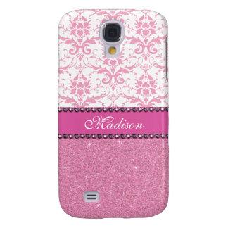 Capa Samsung Galaxy S4 Damasco cor-de-rosa e branco feminino, nome